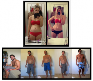 """Composite: Andrew Dixon and """"Mel"""" withe their AMAZING before and after photos prove how misleading weight loss/fitness advertisements can be."""