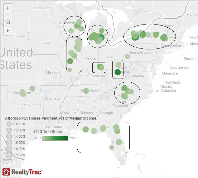 Clusters of counties with affordable homes, jobs and good schools. Click for more data