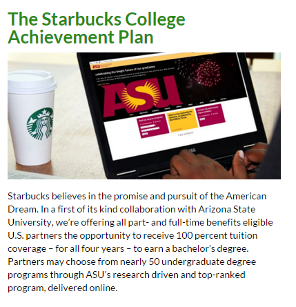 Click to learn more about Starbucks' free college offer