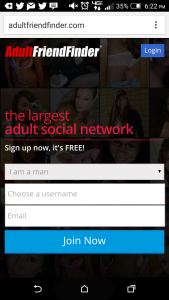 The website's mobile home page