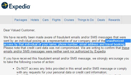 The email from Expedia