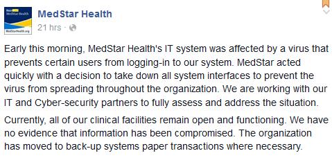 MedStar's ominous Facebook post