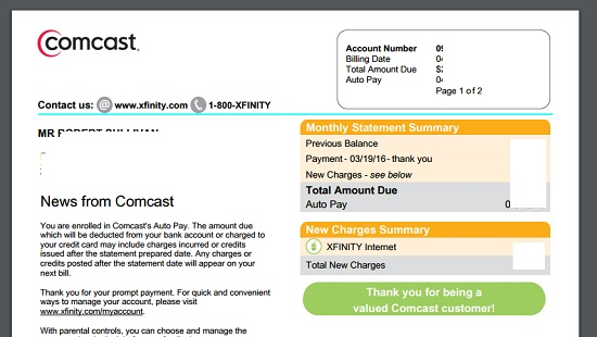 A Comcast bill