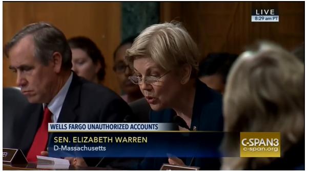 Click to watch Elizabeth Warren at the Wells Fargo hearing.
