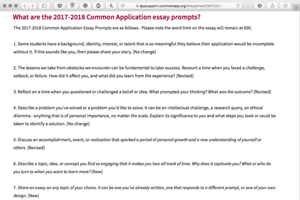 college common application essay prompt Pomona is a member of the common application,  essay prompts (please complete only one prompt) for pomona students, the college's location in.